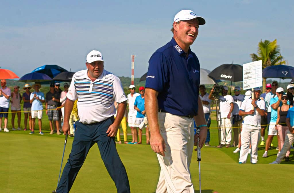 Ernie Els and Angel Cabrera having some fun at the Karibana Skins Match in Colombia last December