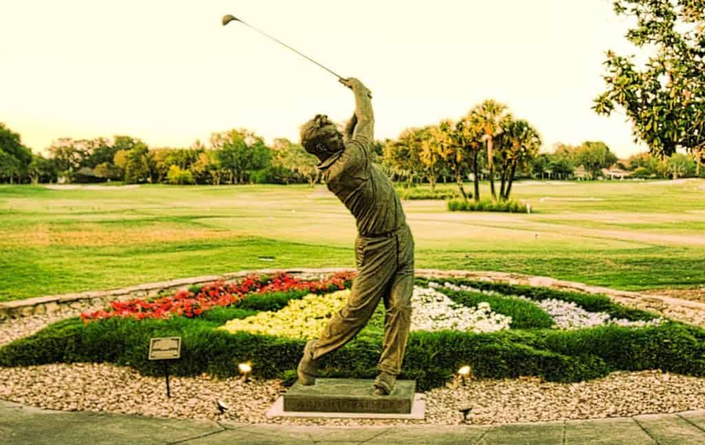 Commissioned by MasterCard, this 13-foot statue of The King sits next to the first tee